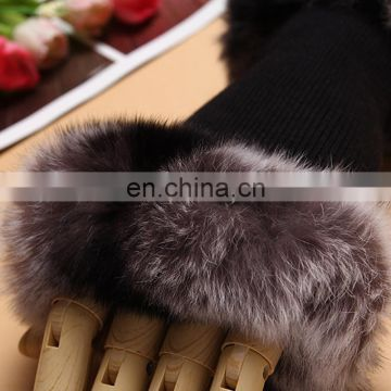Fashion knitted fingerless gloves rabbit fur weaven gloves
