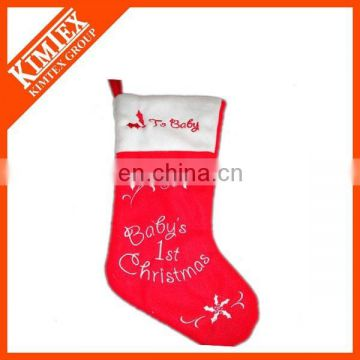 Retail New style wholesale fleece christmas stocking decoration supplies
