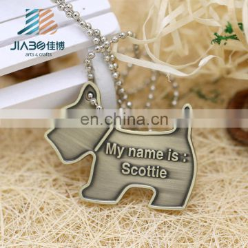 Customized DIY engraved dog shape bronze colors metal Dogtags