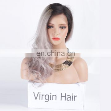Two Tone #1b/Grey Ombre Full Lace Wigs Straight aliexpress hair brazilian hair wigs