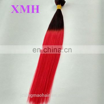 Hot sale virgin hair bundles two tone hair black to red ombre colored hair weave