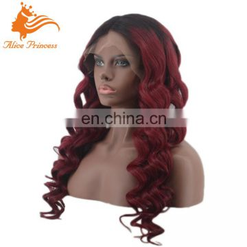 New Designed Hot Sale Ombre Color Wave Virgin Indian Human Hair Middle Part Lace Front Wigs For Black Women