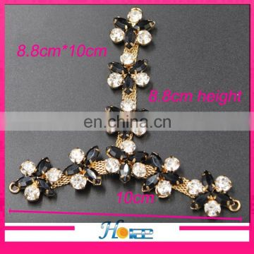 T-shape metal rhinestone shoe jewelry chain sandal lace chain