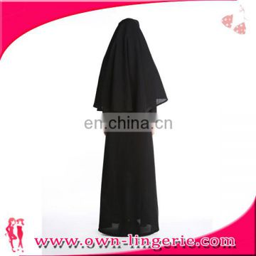 Women polyester black nun sister long gown costume for halloween party with hooded