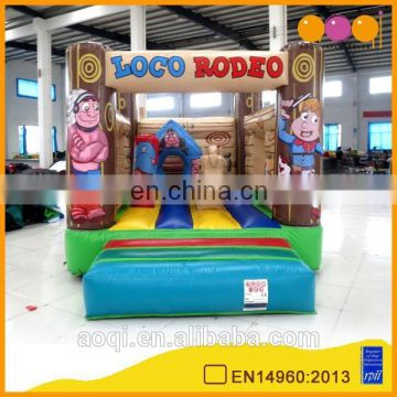 AOQI amusement park equipment inflatable bouncer Rodeo theme inflatable jumping bounce indoor game for kids