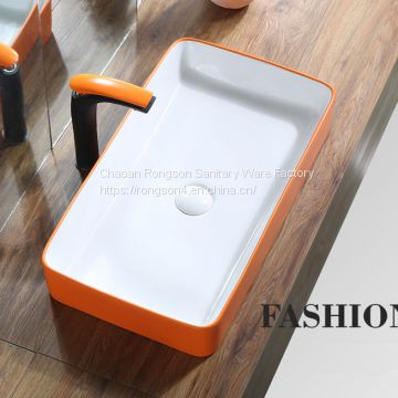 Good sale wash hand ceramic no hole rectangle golden color basin sink from chaozhou manufacturer
