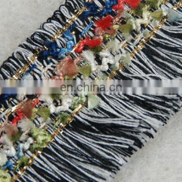 Fashion cotton multi color embellishment for black/white fringe tassel with gold lurex trimming