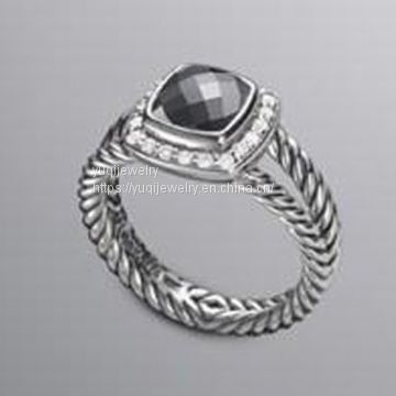 Fashion Jewelry 7mm Hematite Petite Albion Cushion Ring(R-010)