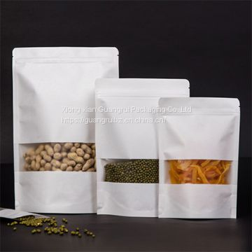 Custom Ziplock Brick Tea Packing Bag Stand Up Pouch White Kraft Paper Bag