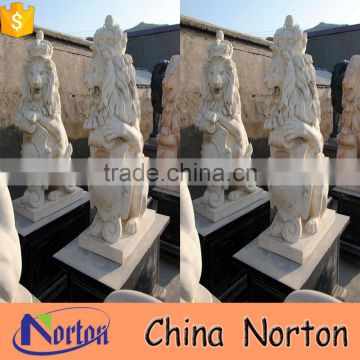 Norton double marble all sizes heraldic lion sculpture opening mouth and holding a shield NTBM-L021L