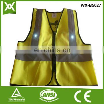 suppliers 16/14 led 2*AA/3*AAA battery mesh /solid fabric high visibility led vest