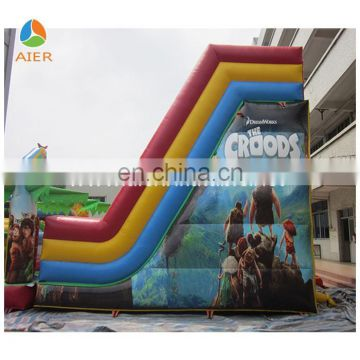Forest Theme Inflatable Amusement Obstacle With Primitive Man Printing