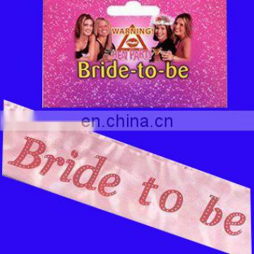 White polyester bride to be sash