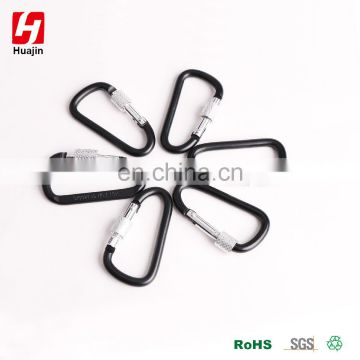 Aluminum Alloy D Shape Carabiner with Screw Lock, Key Chain Clip Hook