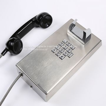 Industrial telephone emergency telephone with volume button