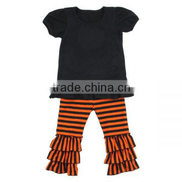Wholesale 2016 China Kaiyo baby clothing factory baby suit blank and orange ruffle outfits cotton pattern garment
