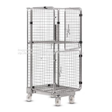4 Wheels Warehouse Roll Cage Hand Push Storage Trolley