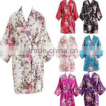 Walson walson Women Short floral Robe Dressing Gown Bridal Wedding Bride Bridesmaid Kimono