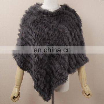 Rabbit fur weaven shawl high quality hand made genuine fur cloak fashion