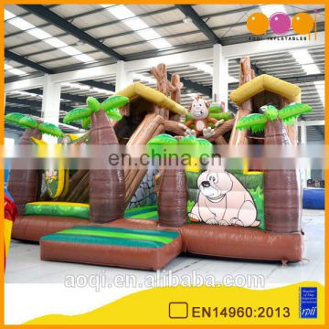 2015 new design 0.55mm PVC tarpaulin top quality forest bridge inflatable slide AQ01505