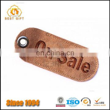 Personalised Brown Leather Luggage Tag with Debossed Logo