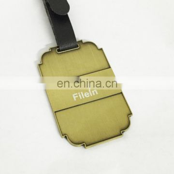 Custom personalized golf bag tags/embossed golf luggage tag with leather strape