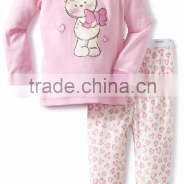 Wholesale Baby Girls Printed Heart Two Pieces Cozy Cotton Pajama Set