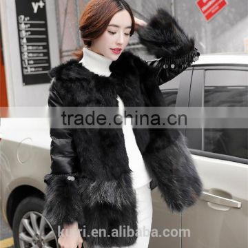 2016 Luxury Genuine Natural Fox Fur Coat Jacket rabbit Fur Patchwork Winter Women Fur leather Outerwear Coats Plus Size
