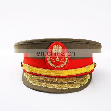 Senior warrant officer hats police hat army hat with golden embroidery customized badge