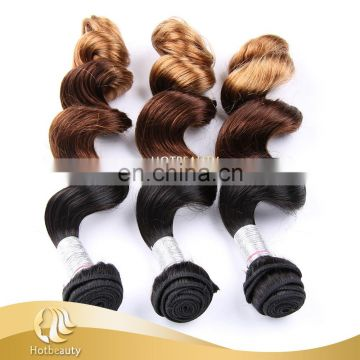 2017 New Arrival UpGraded Human Hair 3 Tone Color loose Wave Obre Color