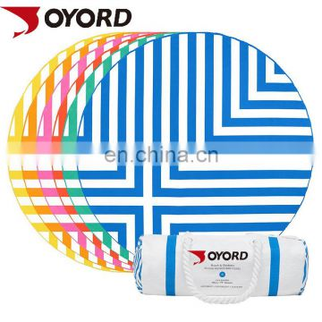 High quality low MOQ dry fit Custom made Printed Microfiber round beach towel