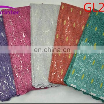 High quality african organza sequin lace fabric GL204
