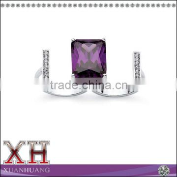 Silvertone Emerald-cut Amethyst Cubic Zirconia and Crystal Double Ring