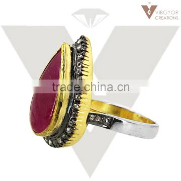 925 Sterling Silver Ruby Ring Pave Diamond Wholesale Costume Jewelry supplier Handmade Jewelry