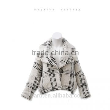 Latest Korean fahsion ladies woolen new checks short coat winter overcoat jacket with lapel sweet girls teenagers clothes