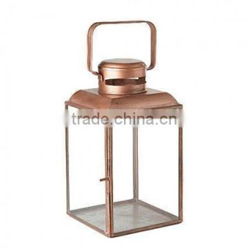 copper antique clear glass lantern