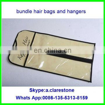 hair extension packaging bag with plastic PVC/hair distributer custom hair garment bags with hanger