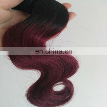 Hot Selling body wave Two Tone Hair Bundless color 1b/99J human hair ombre weft