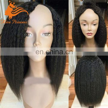 Cheap Peruvian Human Hair Kinky Straight U part Wig Virgin Hair Side/Middle Part U Shape Wigs