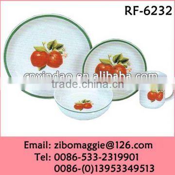 Zibo Made Fruit Print Ceramic Promtoion Dinnerware for Oversized Dinner Set
