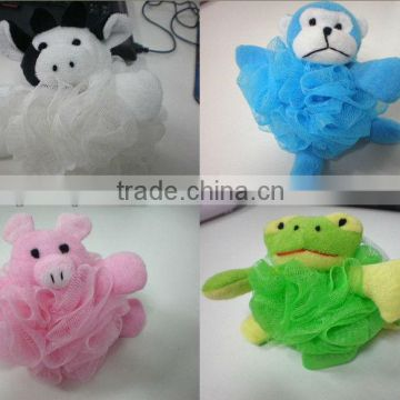 Pumpkin bath ball PE mesh Animal sponge Wash body puff