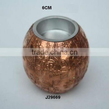 Copper sheet T light holder with Embossed floral patterns