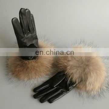 Genuine leather gloves lady winter gloves with fluffy raccoon fur fashion gloves