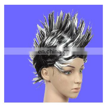 Hot sell unisex Adults Black White Mixed Halloween Party Mohawk Wigs