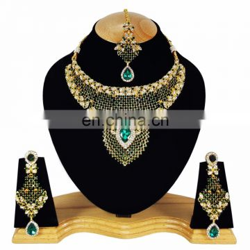 Indian Designer Gold Plated Bollywood Pary wear Jewelry Necklace Set Green Color
