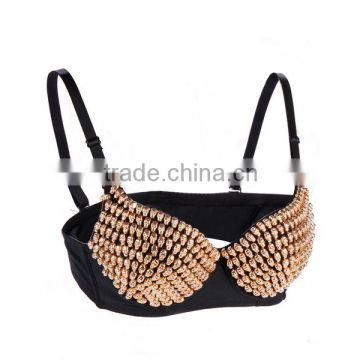 Metallic Rivets Spike Bra Push Up Bralette Sexy Soutien Gorge Steampunk Studded Bras for Women Burlesque Brassiere Underwear