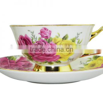 NEW Product 200ml Bone China European Style Flower Pattern Coffee Cup with Saucer Set for hotel