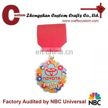 High Quality Custom Soft Enamel Metal Medal With Red Ribbon