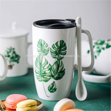 Ins Creative Nordic Green Plant Ceramic Mug With Cover Spoon Large Capacity Heat-Resistant Household Coffee Water Cup