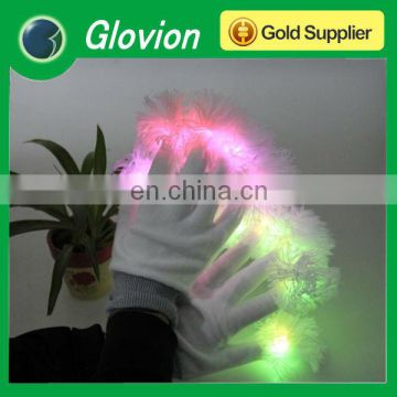 Pink and green led color gloves white glove with led lights party dressing item